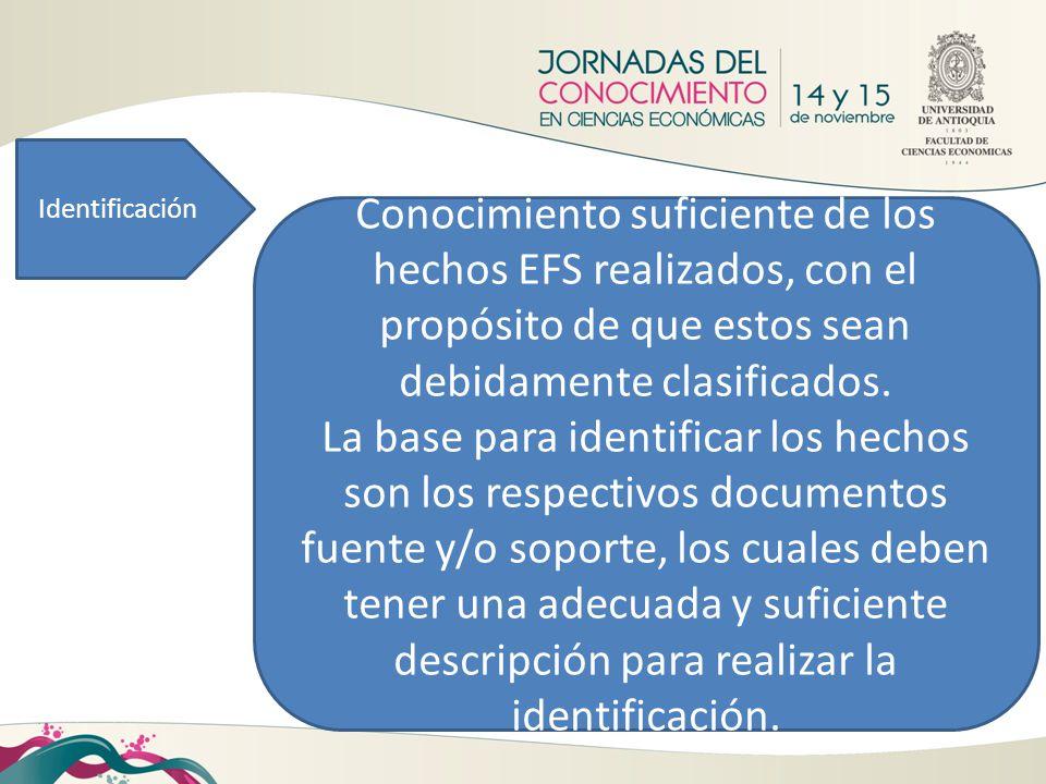 Identificación Conocimiento suficiente de los hechos EFS realizados, con el propósito de que estos sean debidamente clasificados. La base para identif