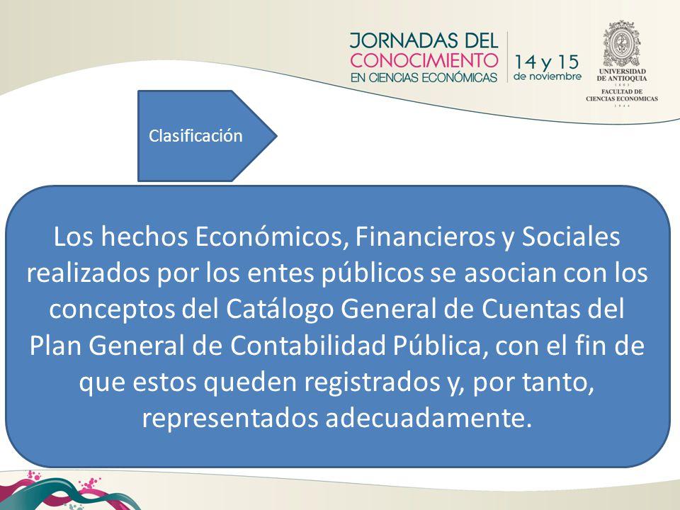 Clasificación Los hechos Económicos, Financieros y Sociales realizados por los entes públicos se asocian con los conceptos del Catálogo General de Cue