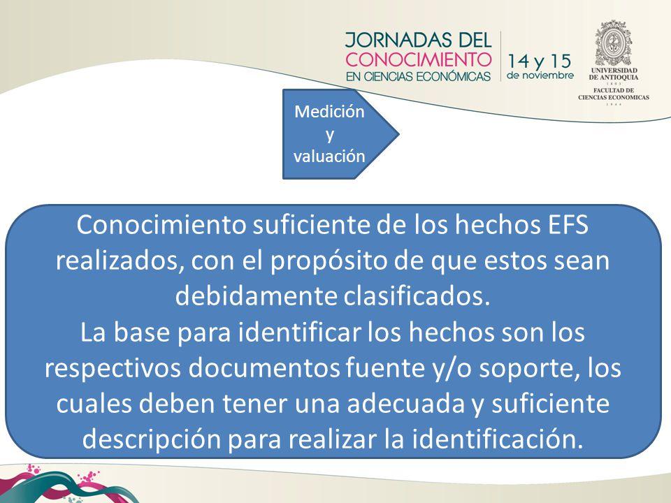 Medición y valuación Conocimiento suficiente de los hechos EFS realizados, con el propósito de que estos sean debidamente clasificados. La base para i