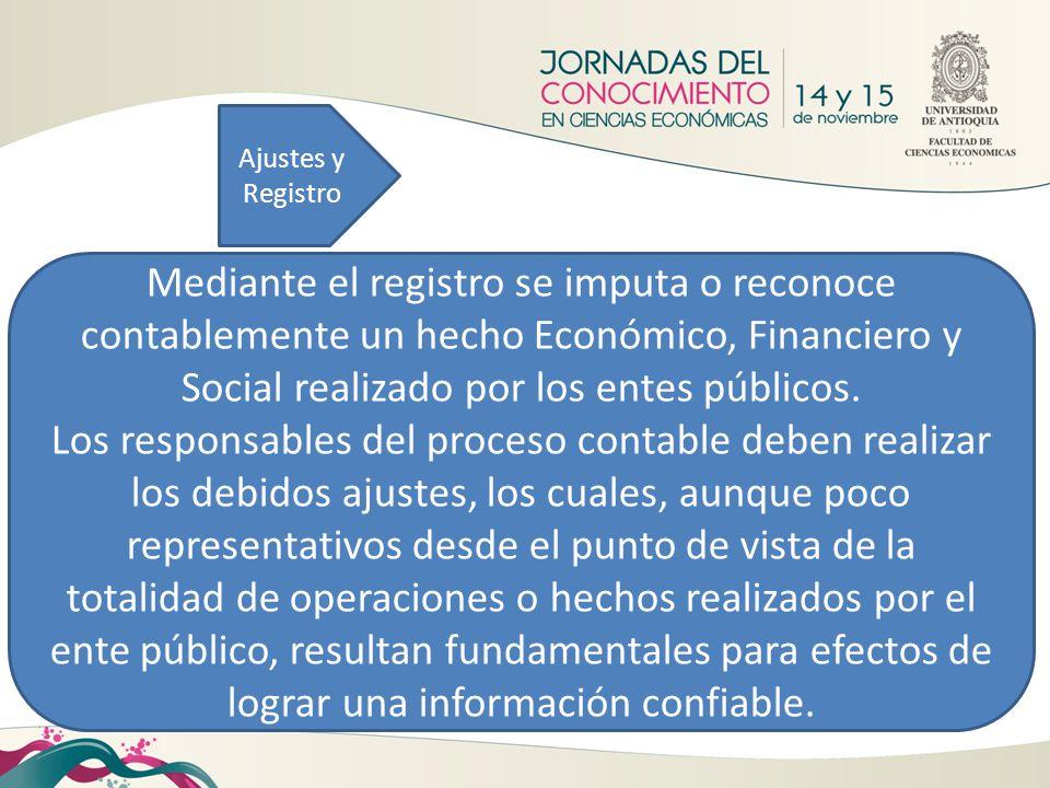 Ajustes y Registro Mediante el registro se imputa o reconoce contablemente un hecho Económico, Financiero y Social realizado por los entes públicos. L