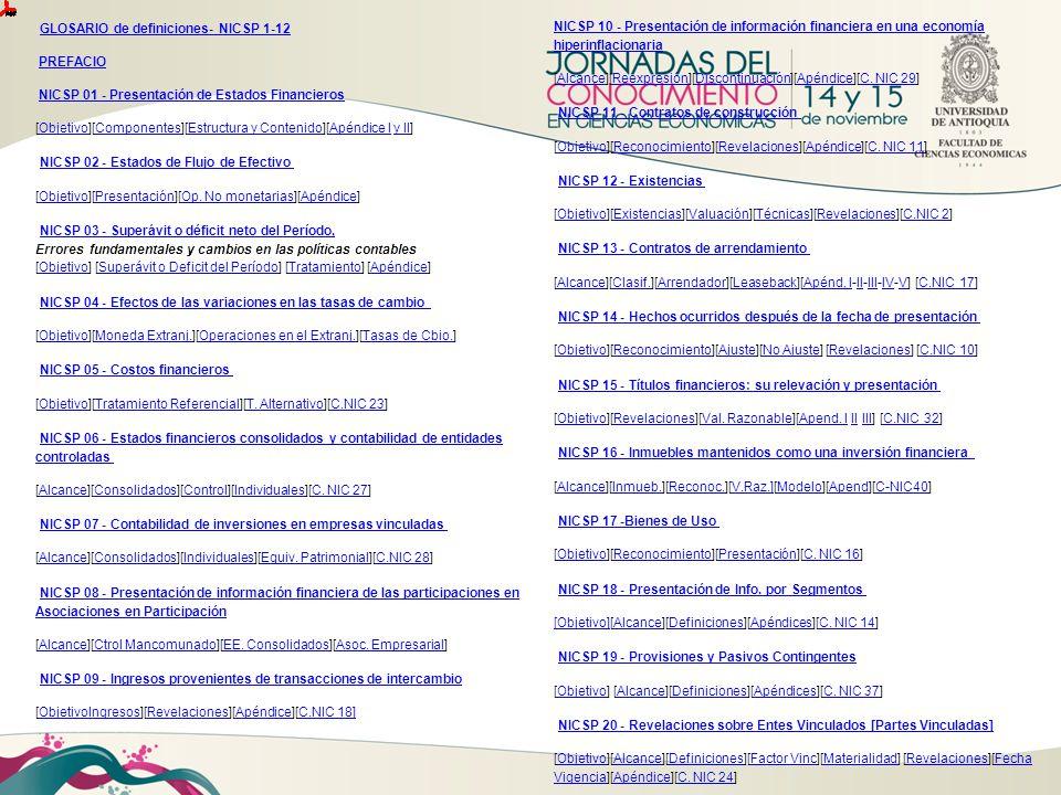 GLOSARIO de definiciones- NICSP 1-12 PREFACIO NICSP 01 - Presentación de Estados Financieros [Objetivo][Componentes][Estructura y Contenido][Apéndice