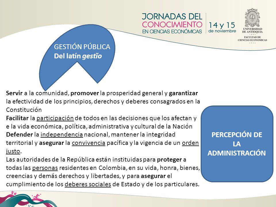 GESTIÓN PÚBLICA Del latín gestĭo Servir a la comunidad, promover la prosperidad general y garantizar la efectividad de los principios, derechos y debe
