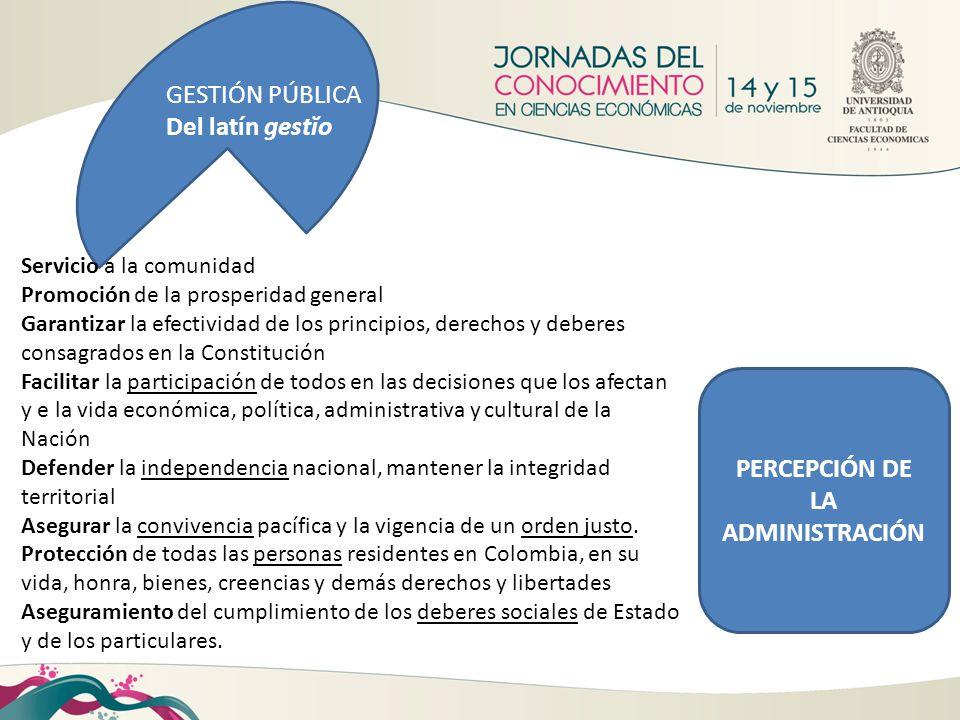GESTIÓN PÚBLICA Del latín gestĭo Servicio a la comunidad Promoción de la prosperidad general Garantizar la efectividad de los principios, derechos y d
