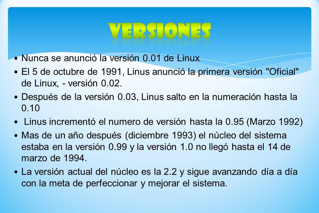 Nunca se anunció la versión 0.01 de Linux El 5 de octubre de 1991, Linus anunció la primera versión