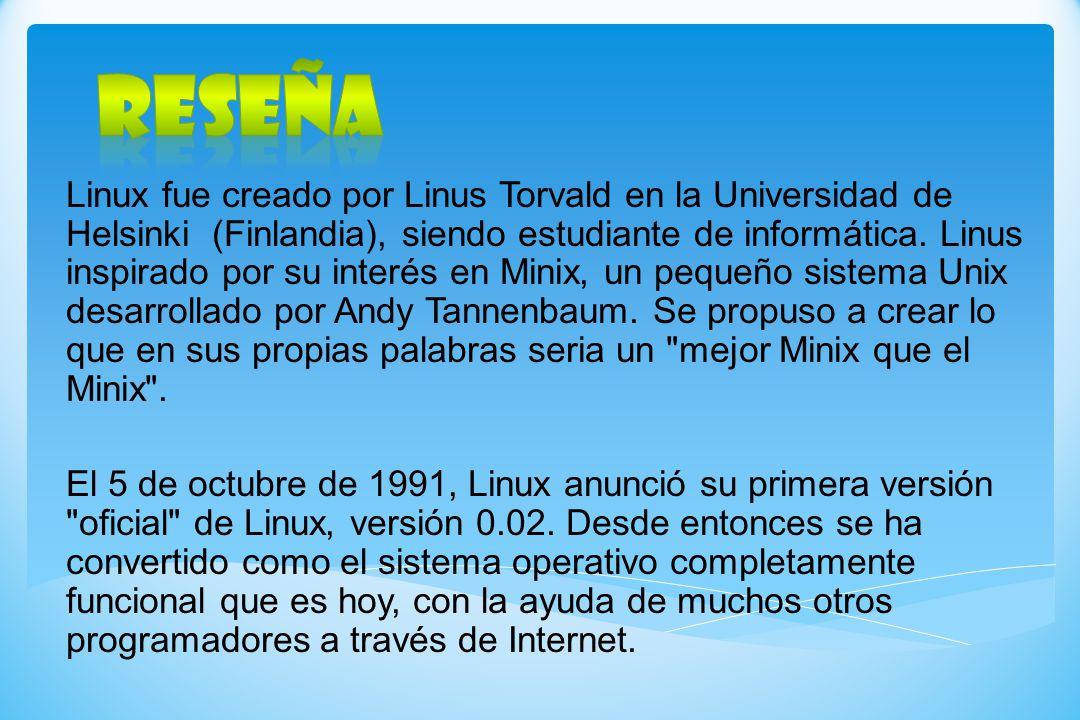 Linux fue creado por Linus Torvald en la Universidad de Helsinki (Finlandia), siendo estudiante de informática. Linus inspirado por su interés en Mini