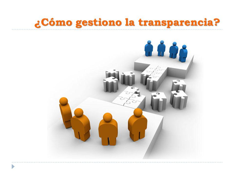 ¿Cómo gestiono la transparencia?