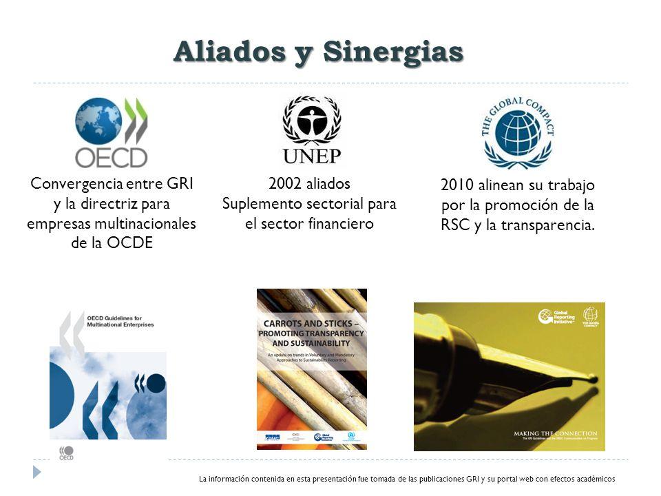 Aliados y Sinergias Convergencia entre GRI y la directriz para empresas multinacionales de la OCDE 2002 aliados Suplemento sectorial para el sector financiero 2010 alinean su trabajo por la promoción de la RSC y la transparencia.