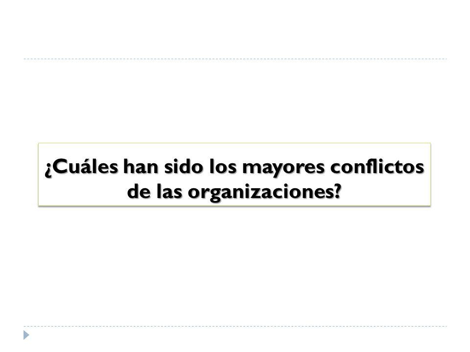 ¿Cuáles han sido los mayores conflictos de las organizaciones?