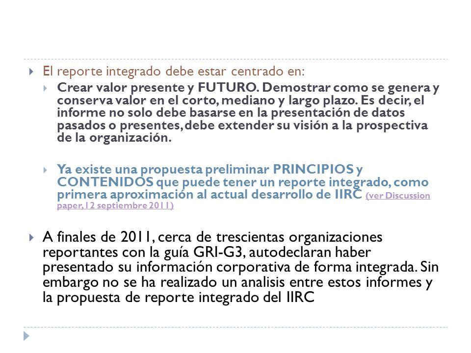 El reporte integrado debe estar centrado en: Crear valor presente y FUTURO.