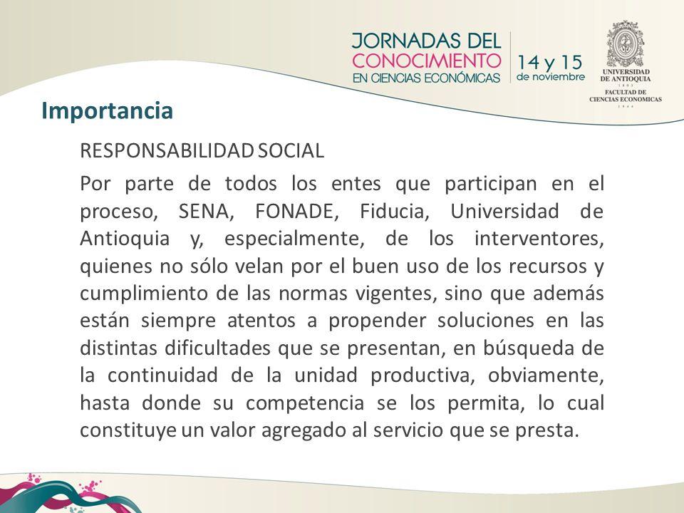 RESPONSABILIDAD SOCIAL Por parte de todos los entes que participan en el proceso, SENA, FONADE, Fiducia, Universidad de Antioquia y, especialmente, de