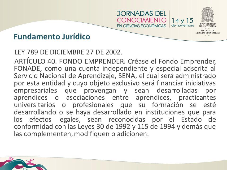 Fundamento Jurídico LEY 789 DE DICIEMBRE 27 DE 2002. ARTÍCULO 40. FONDO EMPRENDER. Créase el Fondo Emprender, FONADE, como una cuenta independiente y
