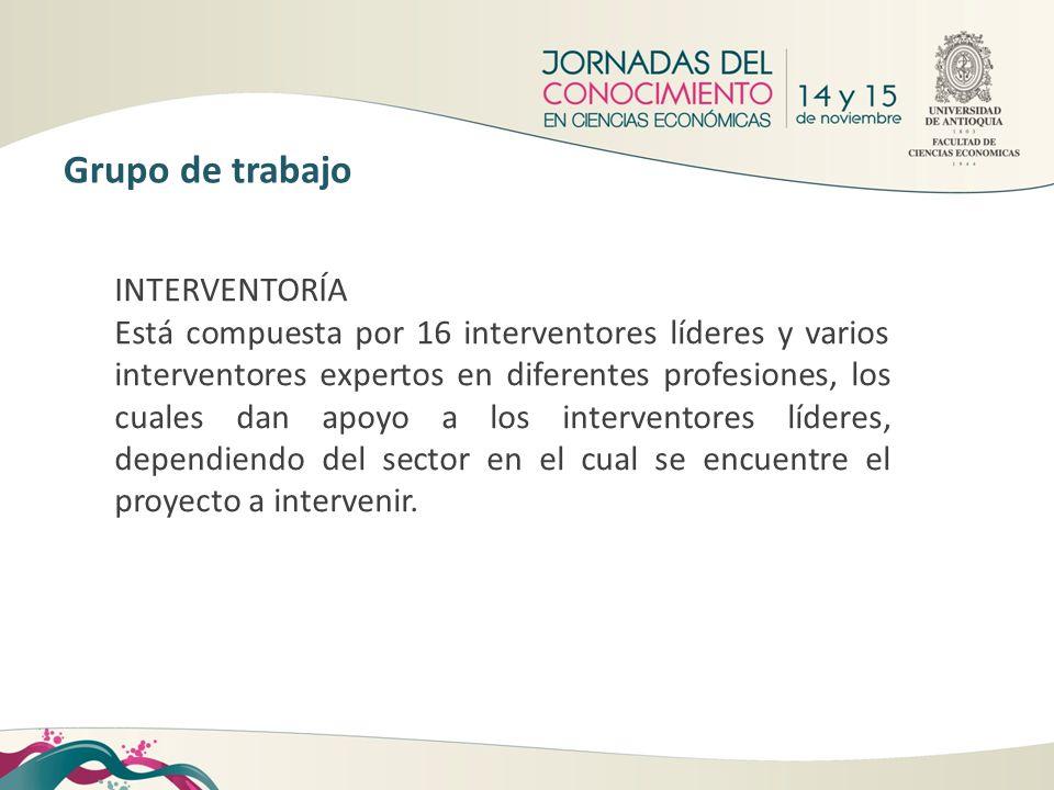 INTERVENTORÍA Está compuesta por 16 interventores líderes y varios interventores expertos en diferentes profesiones, los cuales dan apoyo a los interv