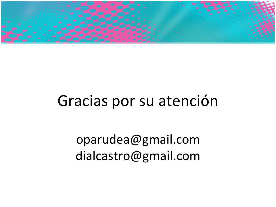 Gracias por su atención oparudea@gmail.com dialcastro@gmail.com