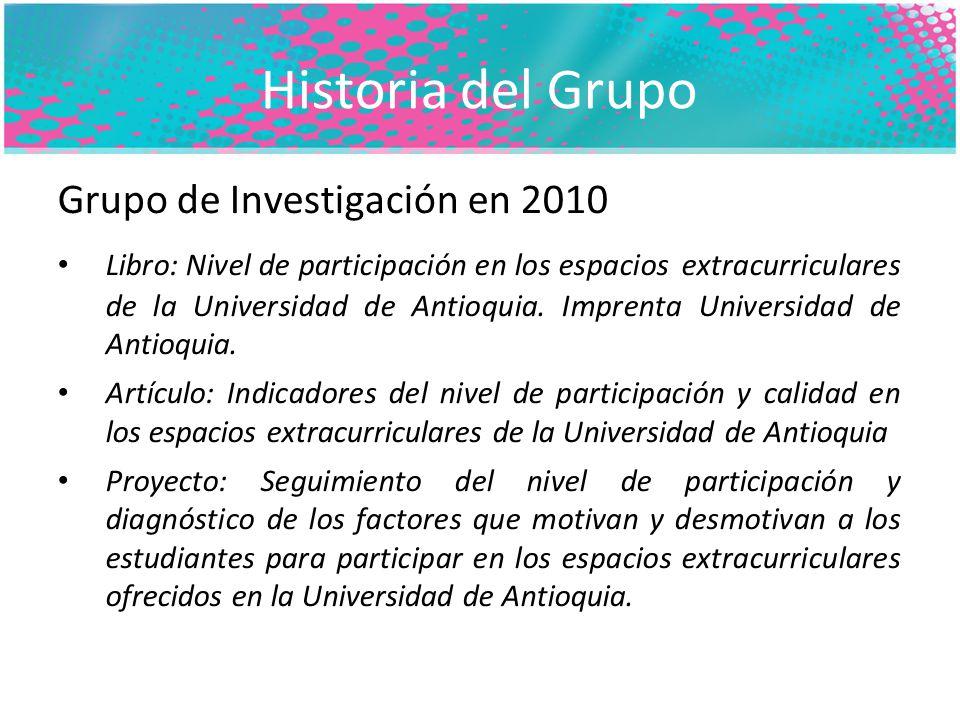Historia del Grupo Grupo de Investigación en 2010 Libro: Nivel de participación en los espacios extracurriculares de la Universidad de Antioquia.