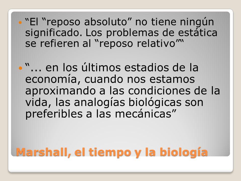 Marshall, el tiempo y la biología El reposo absoluto no tiene ningún significado. Los problemas de estática se refieren al reposo relativo... en los ú