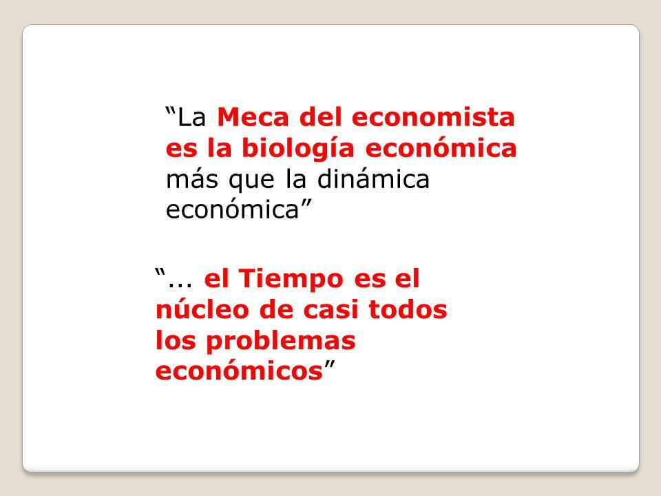 La Meca del economista es la biología económica más que la dinámica económica... el Tiempo es el núcleo de casi todos los problemas económicos