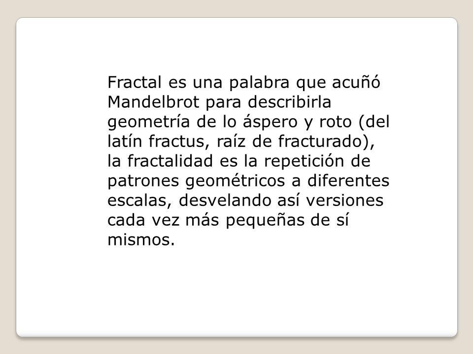 Fractal es una palabra que acuñó Mandelbrot para describirla geometría de lo áspero y roto (del latín fractus, raíz de fracturado), la fractalidad es la repetición de patrones geométricos a diferentes escalas, desvelando así versiones cada vez más pequeñas de sí mismos.