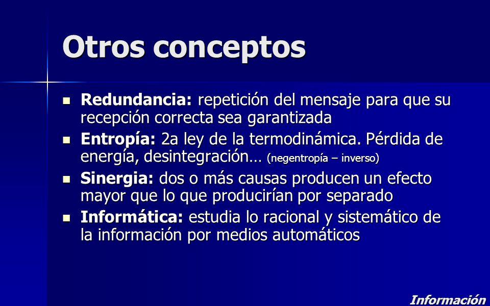 Otros conceptos Redundancia: repetición del mensaje para que su recepción correcta sea garantizada Redundancia: repetición del mensaje para que su rec