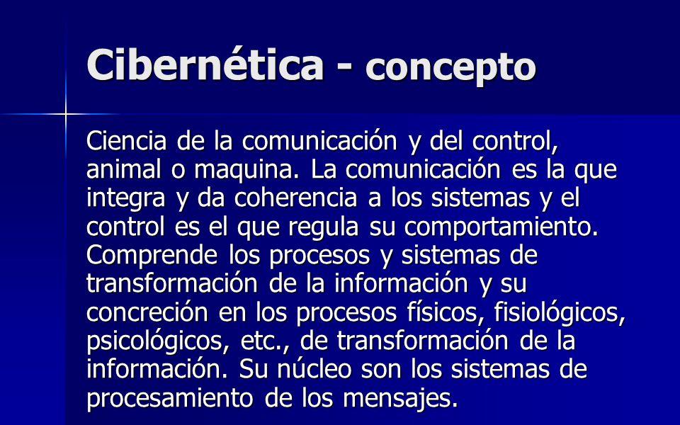 Cibernética - concepto Ciencia de la comunicación y del control, animal o maquina. La comunicación es la que integra y da coherencia a los sistemas y