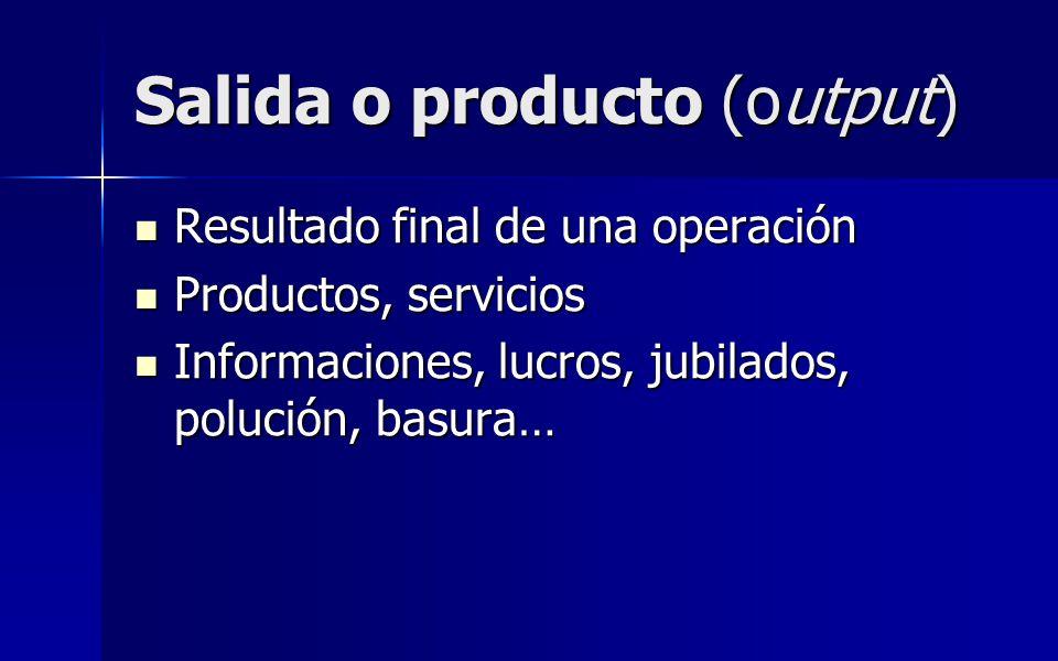 Salida o producto (output) Resultado final de una operación Resultado final de una operación Productos, servicios Productos, servicios Informaciones,