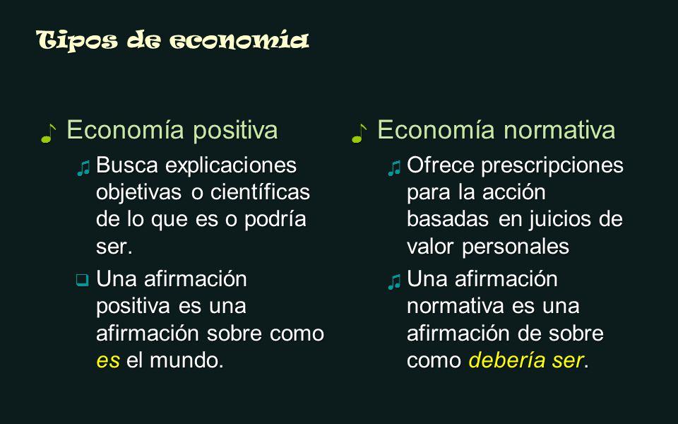 Tipos de economía Economía positiva Economía positiva Busca explicaciones objetivas o científicas de lo que es o podría ser. Busca explicaciones objet