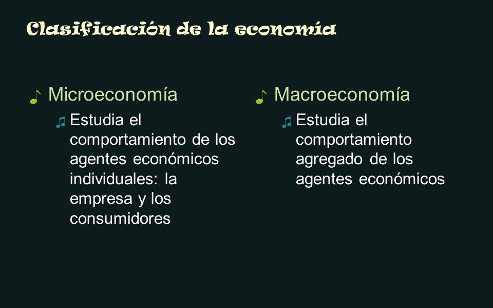 Clasificación de la economía Microeconomía Microeconomía Estudia el comportamiento de los agentes económicos individuales: la empresa y los consumidores Estudia el comportamiento de los agentes económicos individuales: la empresa y los consumidores Macroeconomía Estudia el comportamiento agregado de los agentes económicos