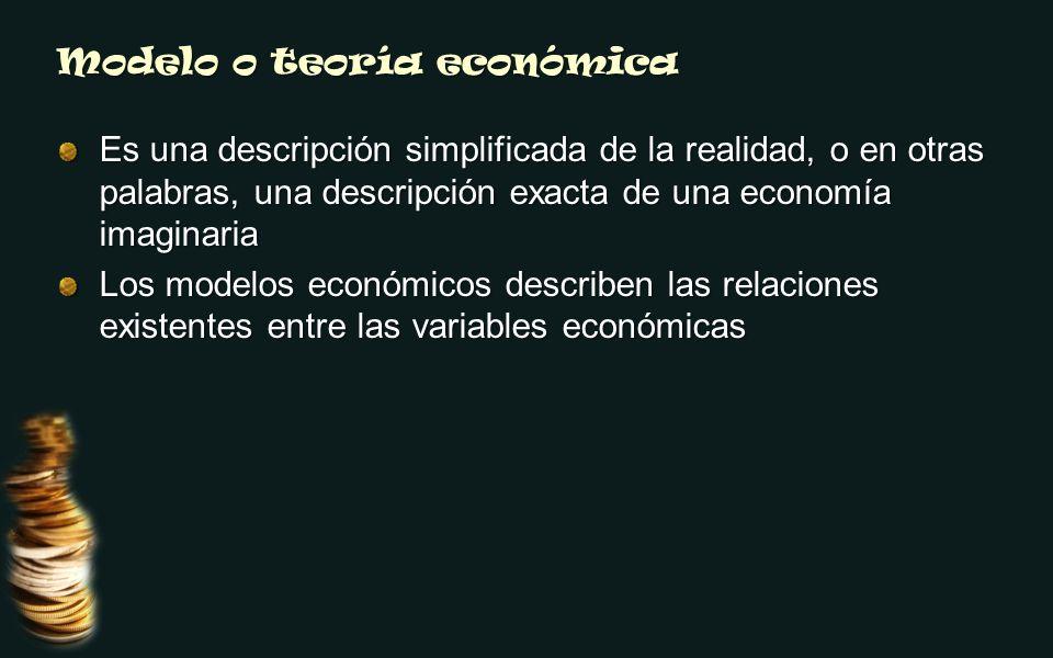 Modelo o teoría económica Es una descripción simplificada de la realidad, o en otras palabras, una descripción exacta de una economía imaginaria Los modelos económicos describen las relaciones existentes entre las variables económicas