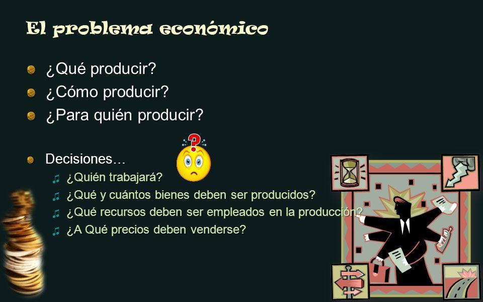 El problema económico ¿Qué producir? ¿Cómo producir? ¿Para quién producir? Decisiones… ¿Quién trabajará? ¿Quién trabajará? ¿Qué y cuántos bienes deben