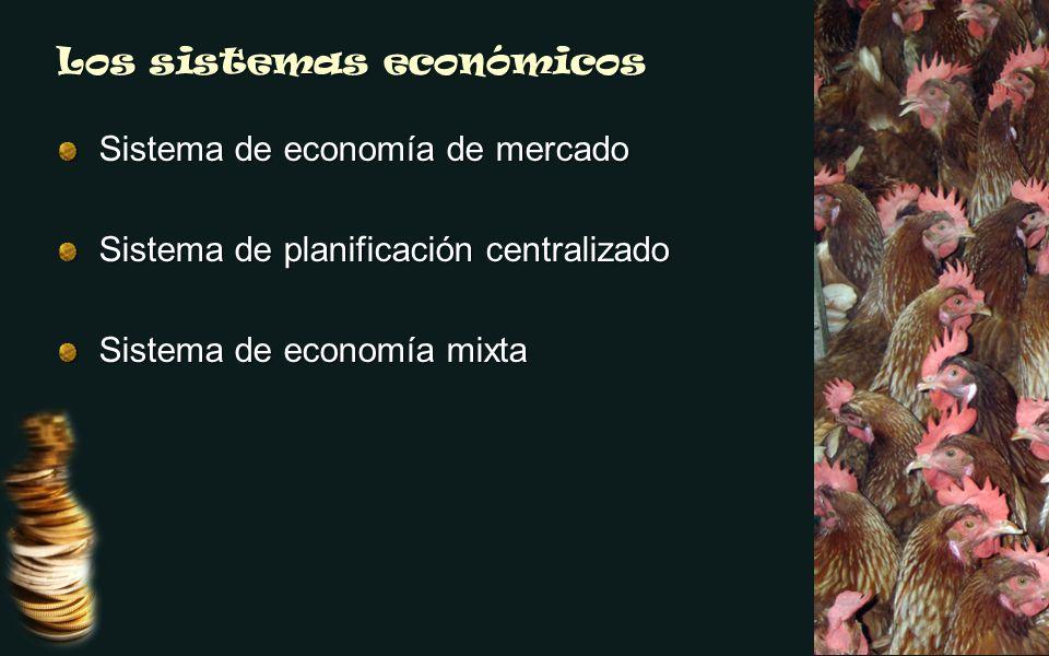 Los sistemas económicos Sistema de economía de mercado Sistema de planificación centralizado Sistema de economía mixta