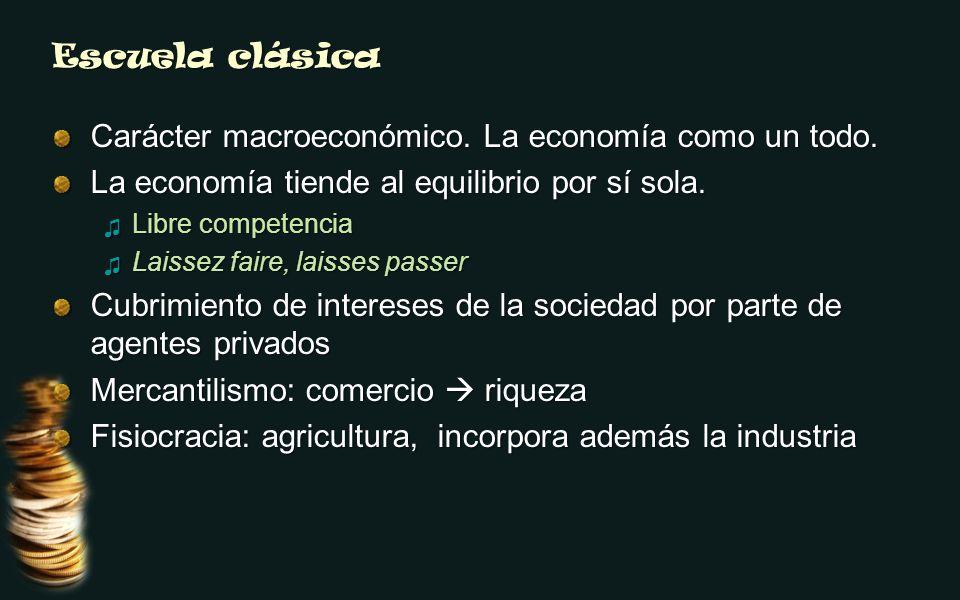 Escuela clásica Carácter macroeconómico. La economía como un todo. La economía tiende al equilibrio por sí sola. Libre competencia Libre competencia L