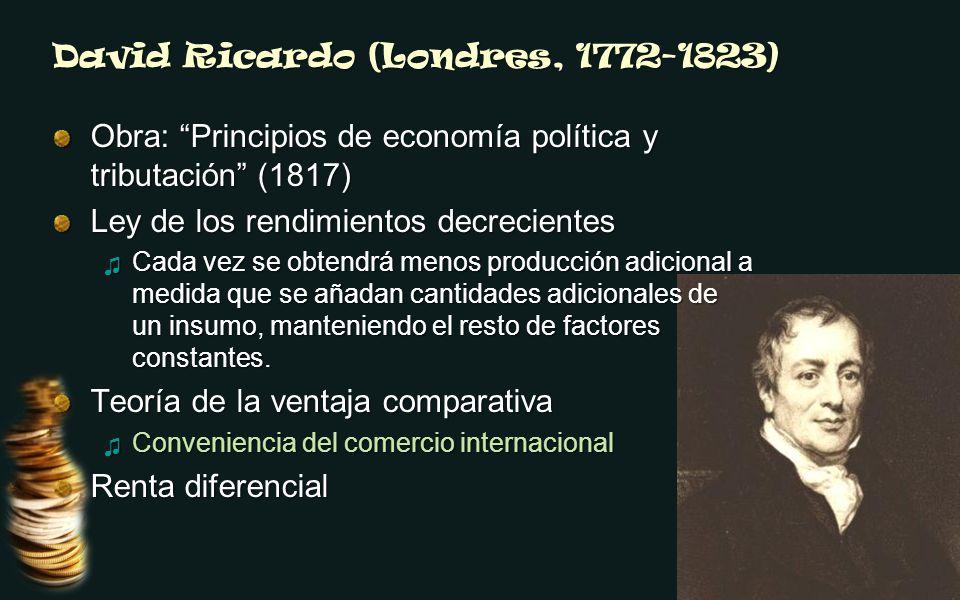 David Ricardo (Londres, 1772-1823) Obra: Principios de economía política y tributación (1817) Ley de los rendimientos decrecientes Cada vez se obtendr