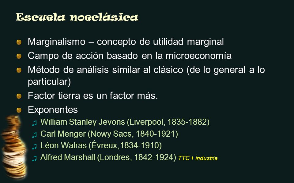 Escuela noeclásica Marginalismo – concepto de utilidad marginal Campo de acción basado en la microeconomía Método de análisis similar al clásico (de lo general a lo particular) Factor tierra es un factor más.