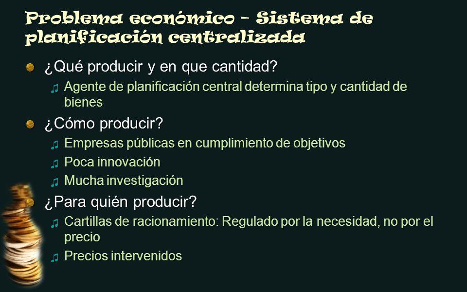 Problema económico – Sistema de planificación centralizada ¿Qué producir y en que cantidad? Agente de planificación central determina tipo y cantidad