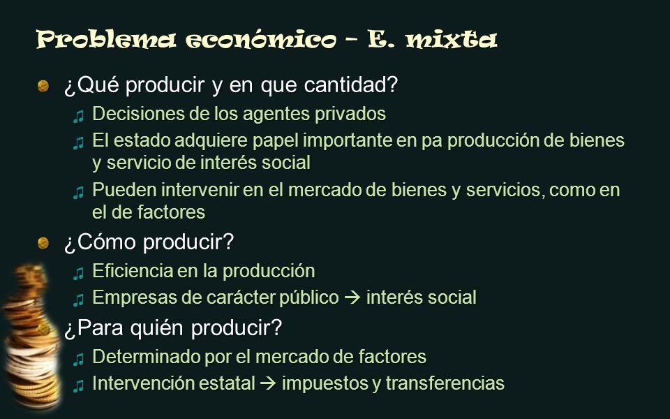 Problema económico – E. mixta ¿Qué producir y en que cantidad? Decisiones de los agentes privados Decisiones de los agentes privados El estado adquier