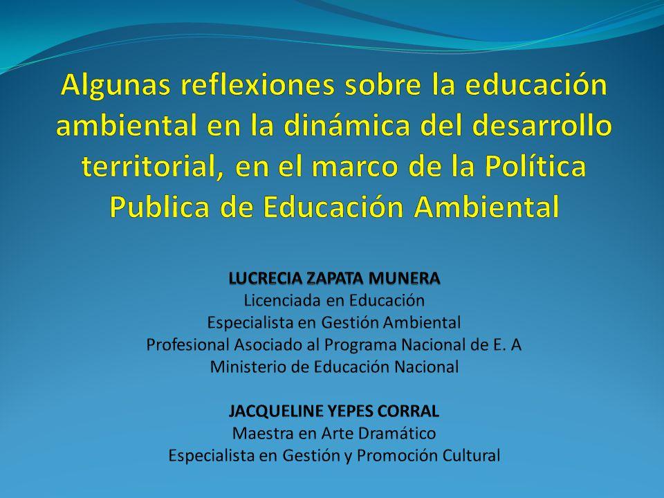 Proporcionar marcos conceptuales, metodológicos, estratégicos y proyectivos Proyecciones La institucionalización de la educación ambiental en el país, entendida como el posicionamiento del tema en el desarrollo institucional, local, regional y nacional.