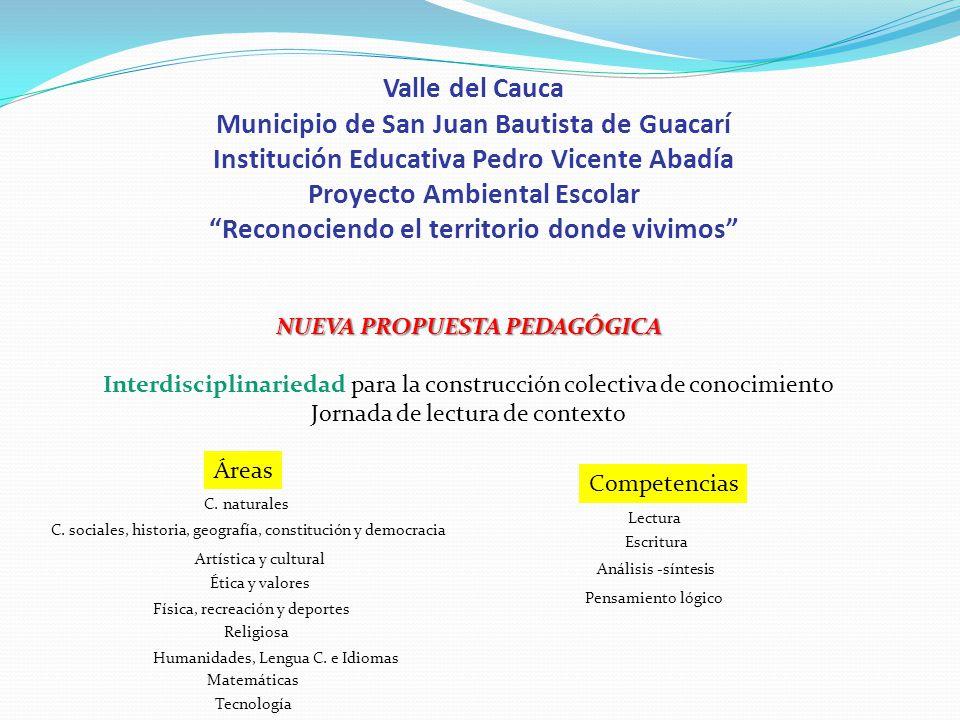 Valle del Cauca Municipio de San Juan Bautista de Guacarí Institución Educativa Pedro Vicente Abadía Proyecto Ambiental Escolar Reconociendo el territ