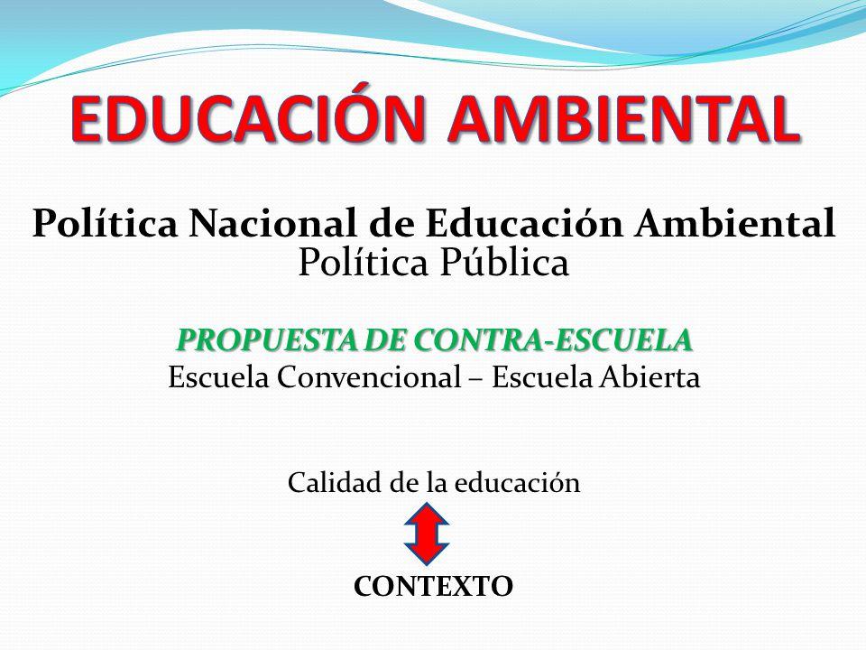 Política Nacional de Educación Ambiental Política Pública PROPUESTA DE CONTRA-ESCUELA Escuela Convencional – Escuela Abierta Calidad de la educación C