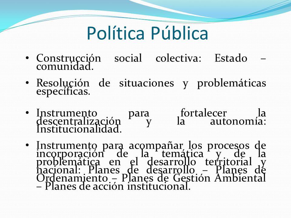 Política Pública Construcción social colectiva: Estado – comunidad. Resolución de situaciones y problemáticas específicas. Instrumento para fortalecer