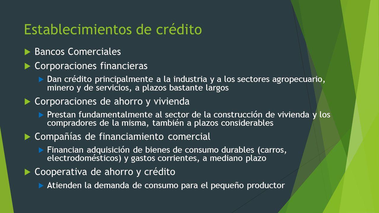 Establecimientos de crédito Bancos Comerciales Corporaciones financieras Dan crédito principalmente a la industria y a los sectores agropecuario, mine