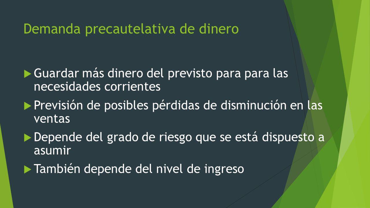 Demanda precautelativa de dinero Guardar más dinero del previsto para para las necesidades corrientes Previsión de posibles pérdidas de disminución en
