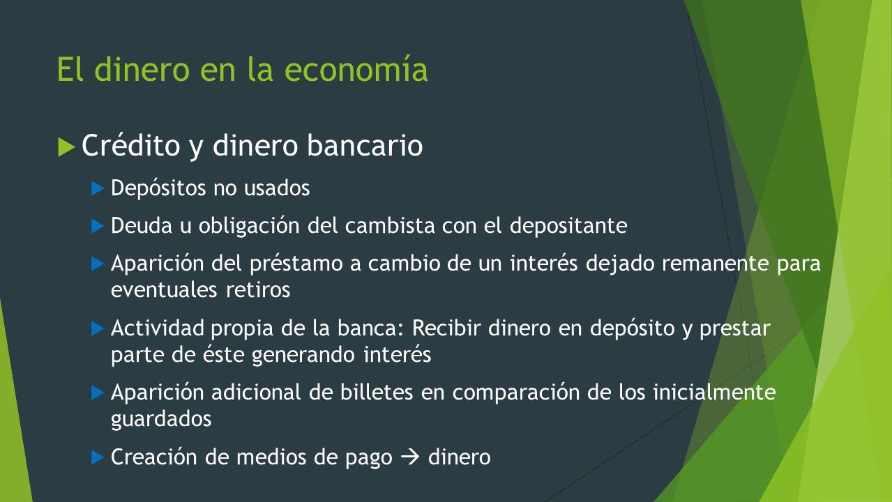 El dinero en la economía Crédito y dinero bancario Depósitos no usados Deuda u obligación del cambista con el depositante Aparición del préstamo a cam