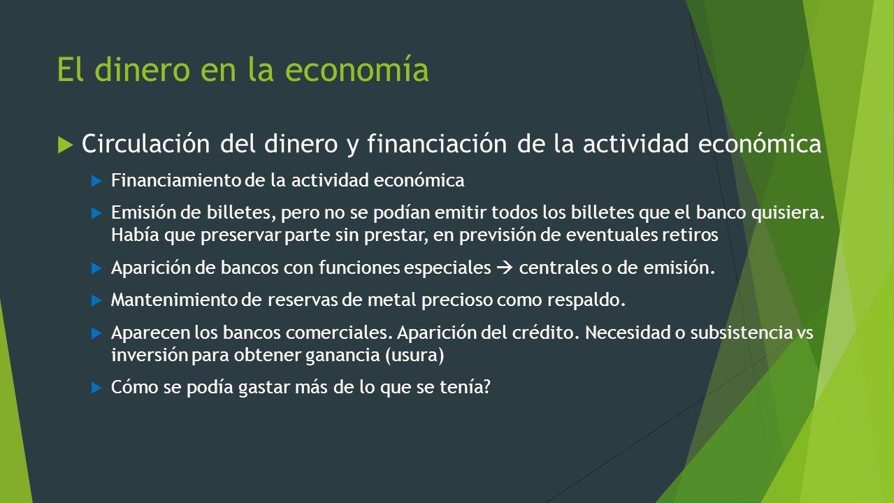 El dinero en la economía Circulación del dinero y financiación de la actividad económica Financiamiento de la actividad económica Emisión de billetes,