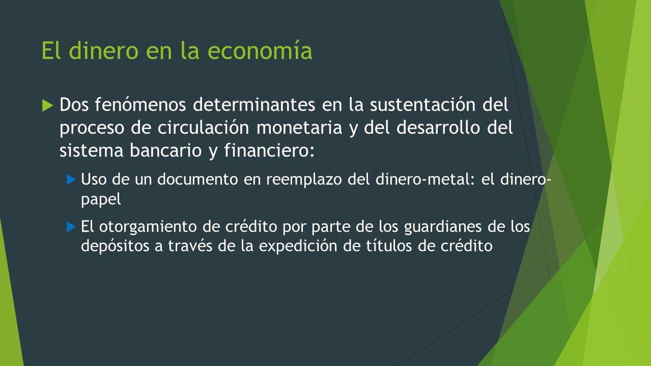 El dinero en la economía Dos fenómenos determinantes en la sustentación del proceso de circulación monetaria y del desarrollo del sistema bancario y f