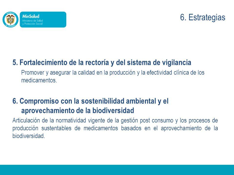 5. Fortalecimiento de la rectoría y del sistema de vigilancia Promover y asegurar la calidad en la producción y la efectividad clínica de los medicame