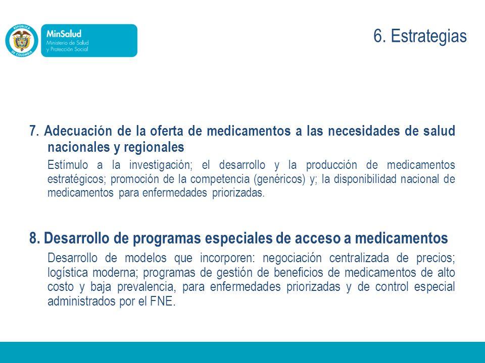 7. Adecuación de la oferta de medicamentos a las necesidades de salud nacionales y regionales Estímulo a la investigación; el desarrollo y la producci