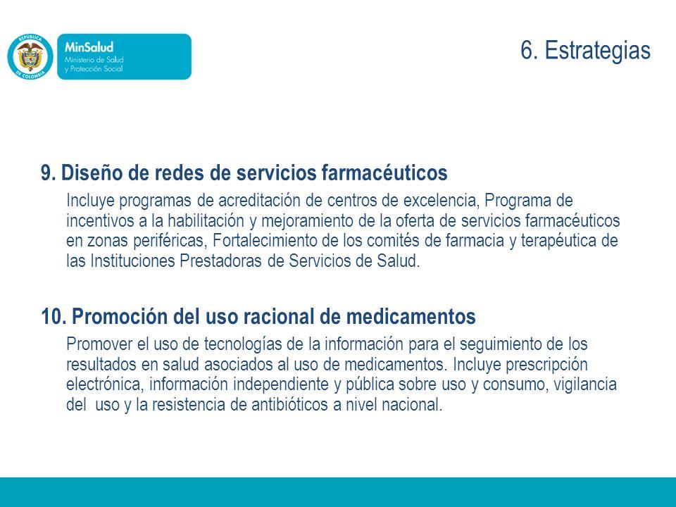 9. Diseño de redes de servicios farmacéuticos Incluye programas de acreditación de centros de excelencia, Programa de incentivos a la habilitación y m