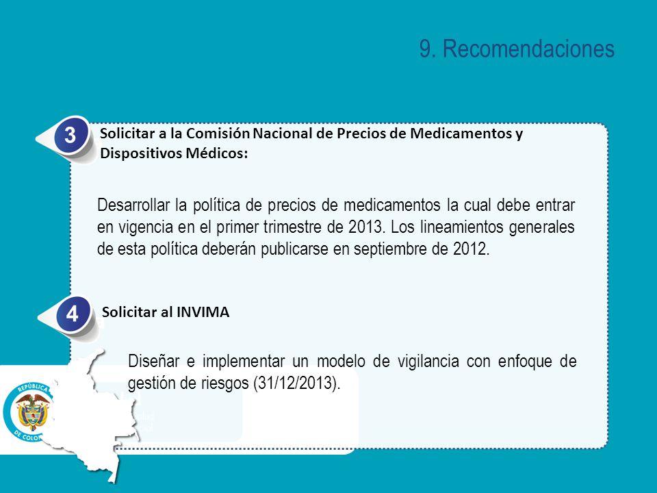 a Solicitar a la Comisión Nacional de Precios de Medicamentos y Dispositivos Médicos: 3 Desarrollar la política de precios de medicamentos la cual debe entrar en vigencia en el primer trimestre de 2013.