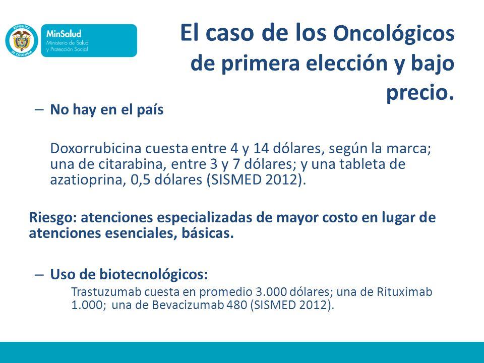 El caso de los Oncológicos de primera elección y bajo precio.