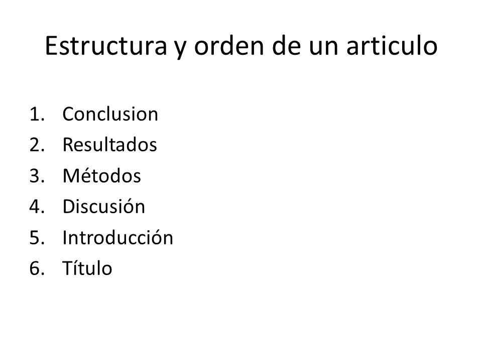 Estructura y orden de un articulo 1.Conclusion 2.Resultados 3.Métodos 4.Discusión 5.Introducción 6.Título