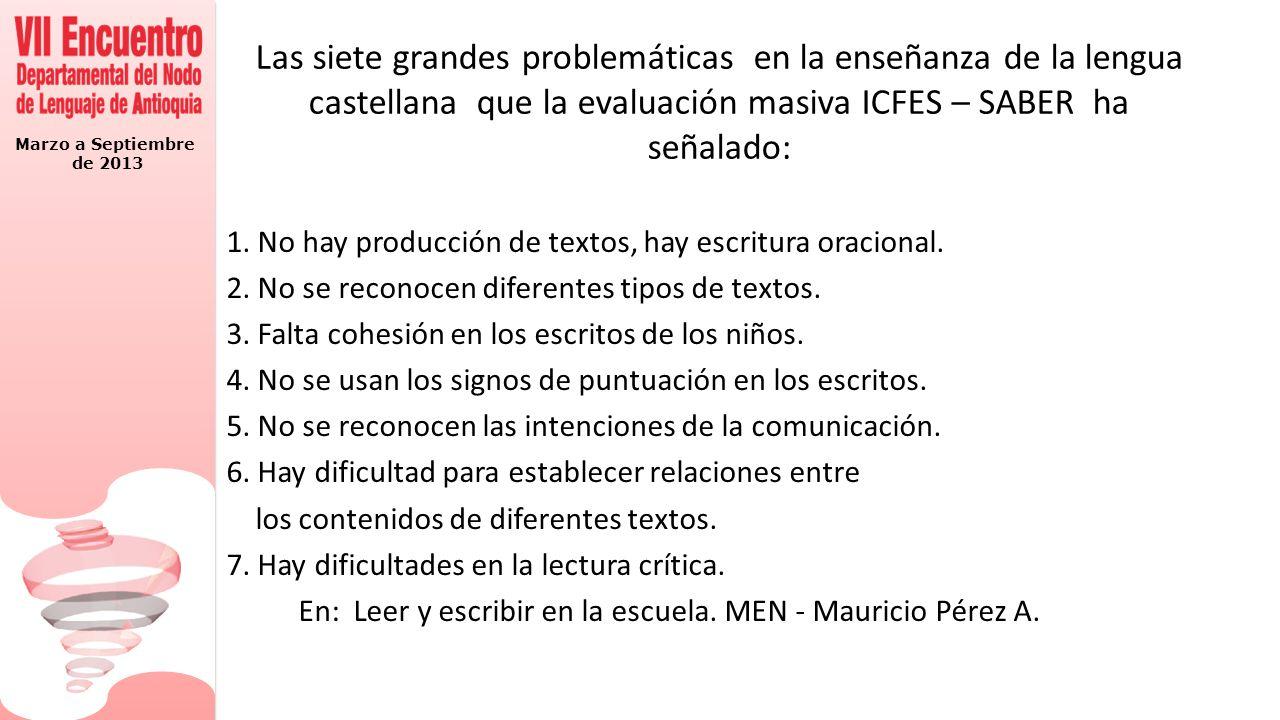 Marzo a Septiembre de 2013 Las siete grandes problemáticas en la enseñanza de la lengua castellana que la evaluación masiva ICFES – SABER ha señalado: 1.